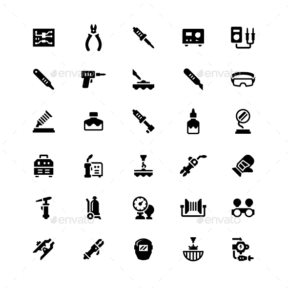 Set Icons of Welding and Soldering - Man-made objects Objects