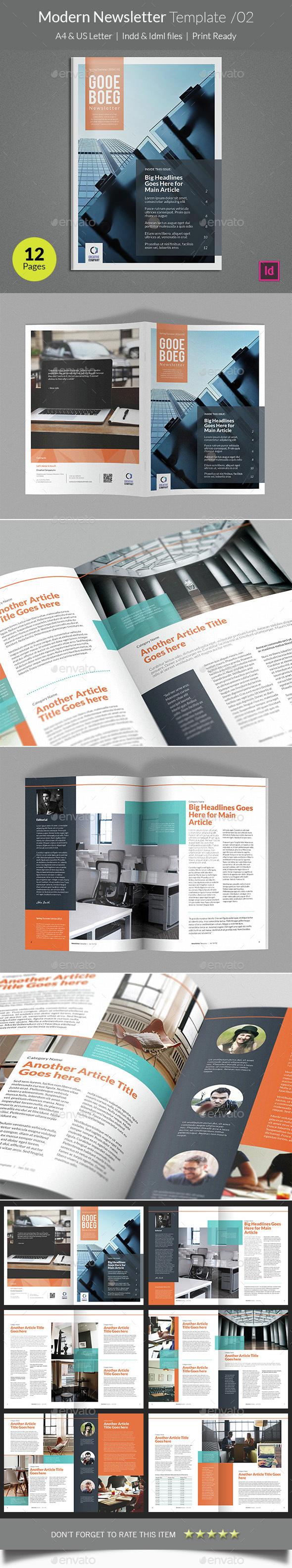 Modern Newsletter Template v02 - Newsletters Print Templates