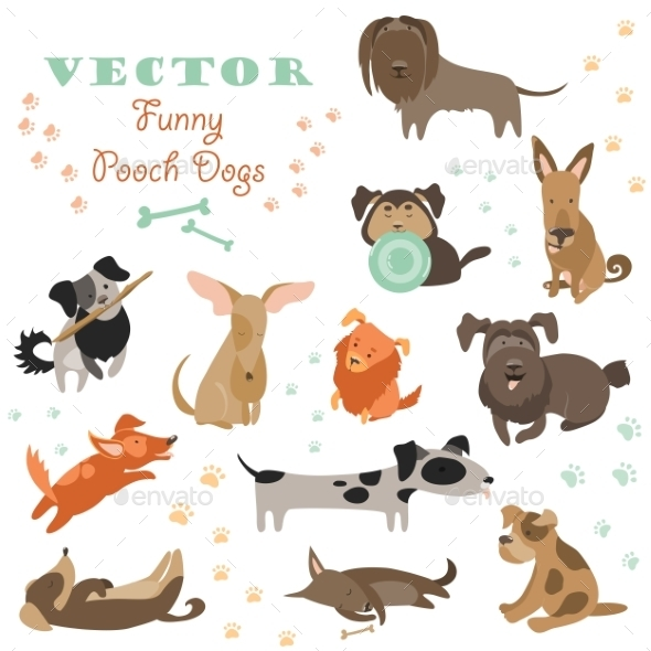 Set Of Funny Mixed Breed Dogs - Animals Characters