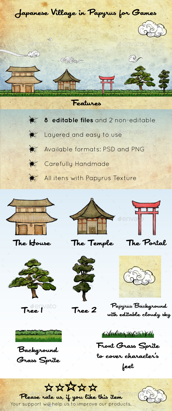 Japanese Village in Papyrus Assets - Game Kits Game Assets