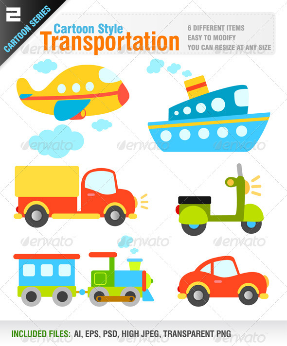 Cartoon Style Transportation - Objects Vectors