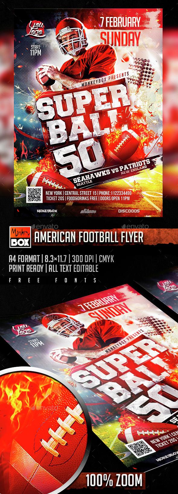 American Football Flyer - Flyers Print Templates