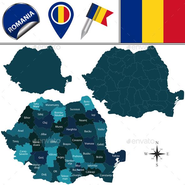 Map of Romania - Travel Conceptual