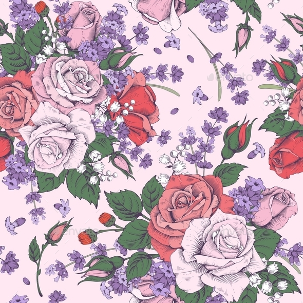 Rose And Lavender - Backgrounds Decorative