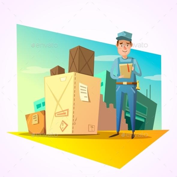 Warehouse Retro Cartoon - Business Conceptual