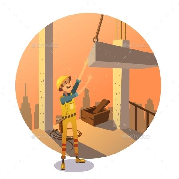 Retro Construction Cartoon - Buildings Objects