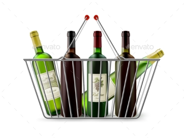 Metallic Shopping Basket With Wine Pictogram - Food Objects