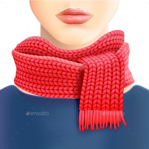 Woman Knitted Red Scarf Ad Print - Commercial / Shopping Conceptual