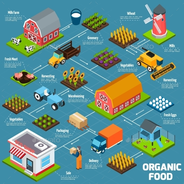 Organic Food Isometric Flowchart - Food Objects
