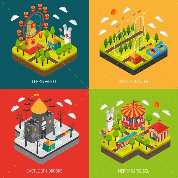 Attraction Park 4 Isometric Icons Square - Miscellaneous Conceptual