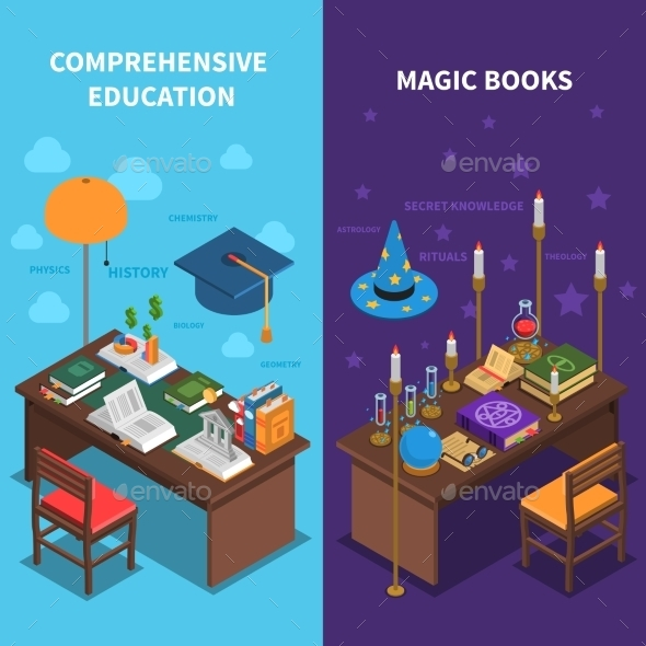 Books And Education Banners Set - Man-made Objects Objects