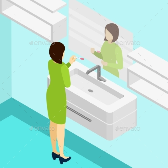 Pregnancy Test Isometric Illustration  - People Characters