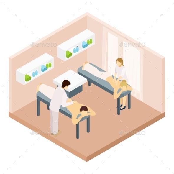 Massage Room Isometric Illustration  - Health/Medicine Conceptual