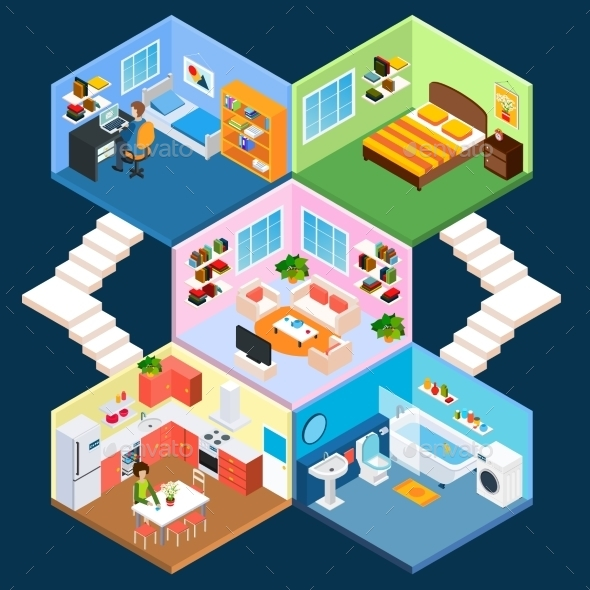 Multistory Isometric Interior - Decorative Symbols Decorative