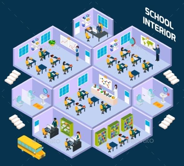 School Isometric Interior - Business Conceptual