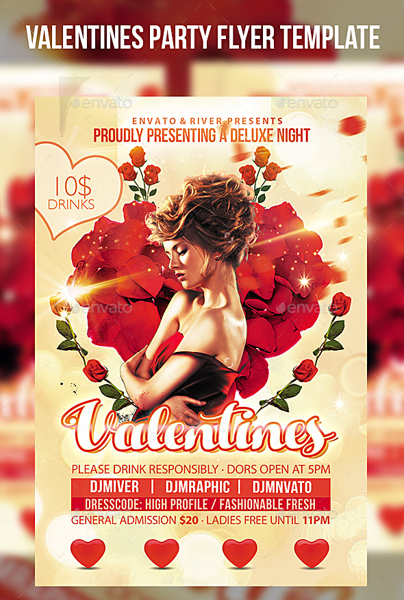 Valentines Party Flyer Template - Events Flyers