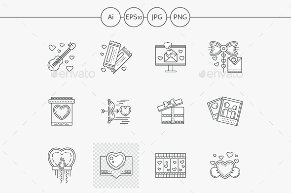 Set of love events line vector icons - Seasonal Icons