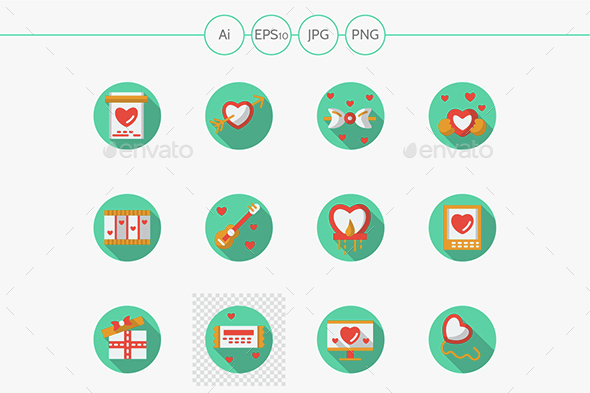 Round flat color love courtship vector icons - Icons