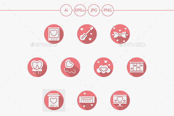 Round pink romance vector icons - Miscellaneous Icons