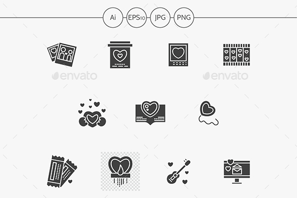 Black silhouette Valentines Day vector icons - Seasonal Icons