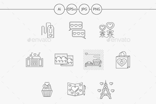 Thin line style love story vector icons - Miscellaneous Icons