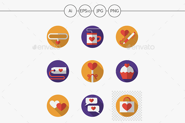 Dating and love round flat color vector icons - Seasonal Icons