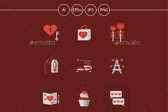 Love flat vector icons on red - Miscellaneous Icons