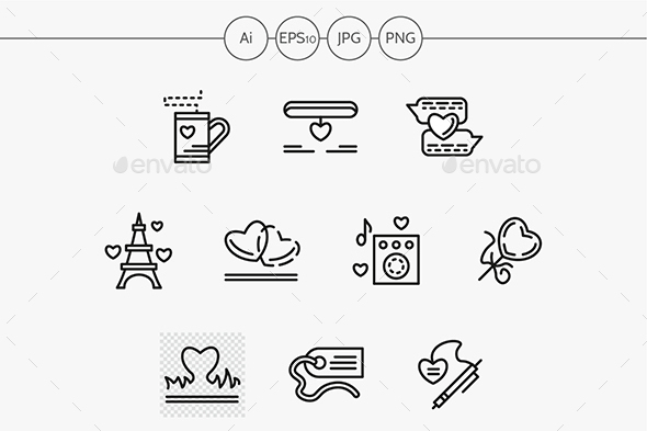 Simple line love relationship vector icons - Abstract Icons