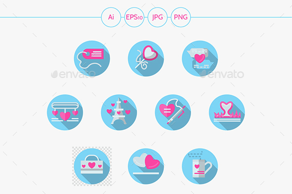 Blue round romantic events flat vector icons set - Icons