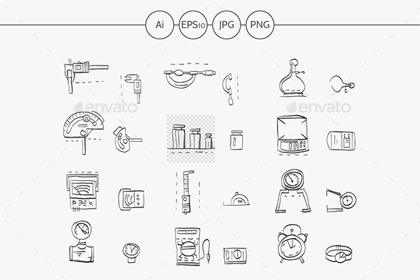 Sketch icons vector collection for metrology - Objects Icons
