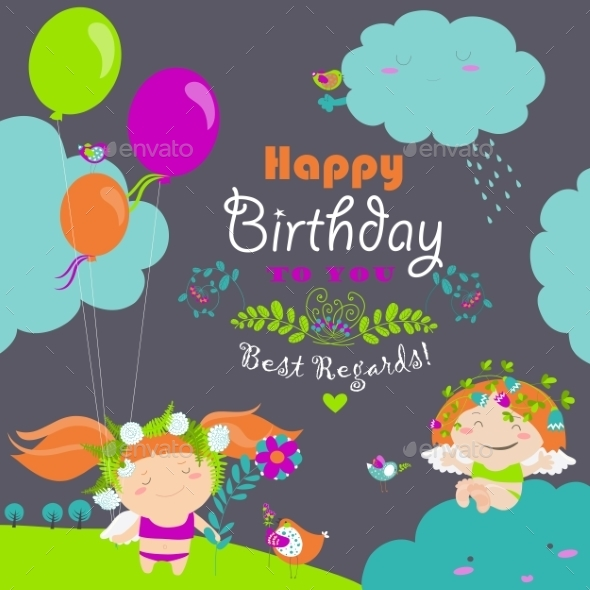 Happy Birthday Card With Cute Angels - Birthdays Seasons/Holidays