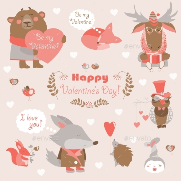 Valentine Set Of Fun Animals With Hearts - Valentines Seasons/Holidays