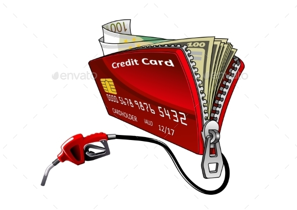 Credit Card With Pump Nozzle And Money - Concepts Business