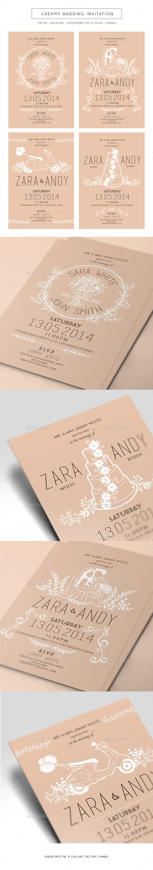Creamy Wedding Invitation - Weddings Cards & Invites