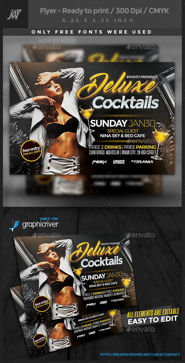 Deluxe Cocktails Party Flyer - Clubs & Parties Events