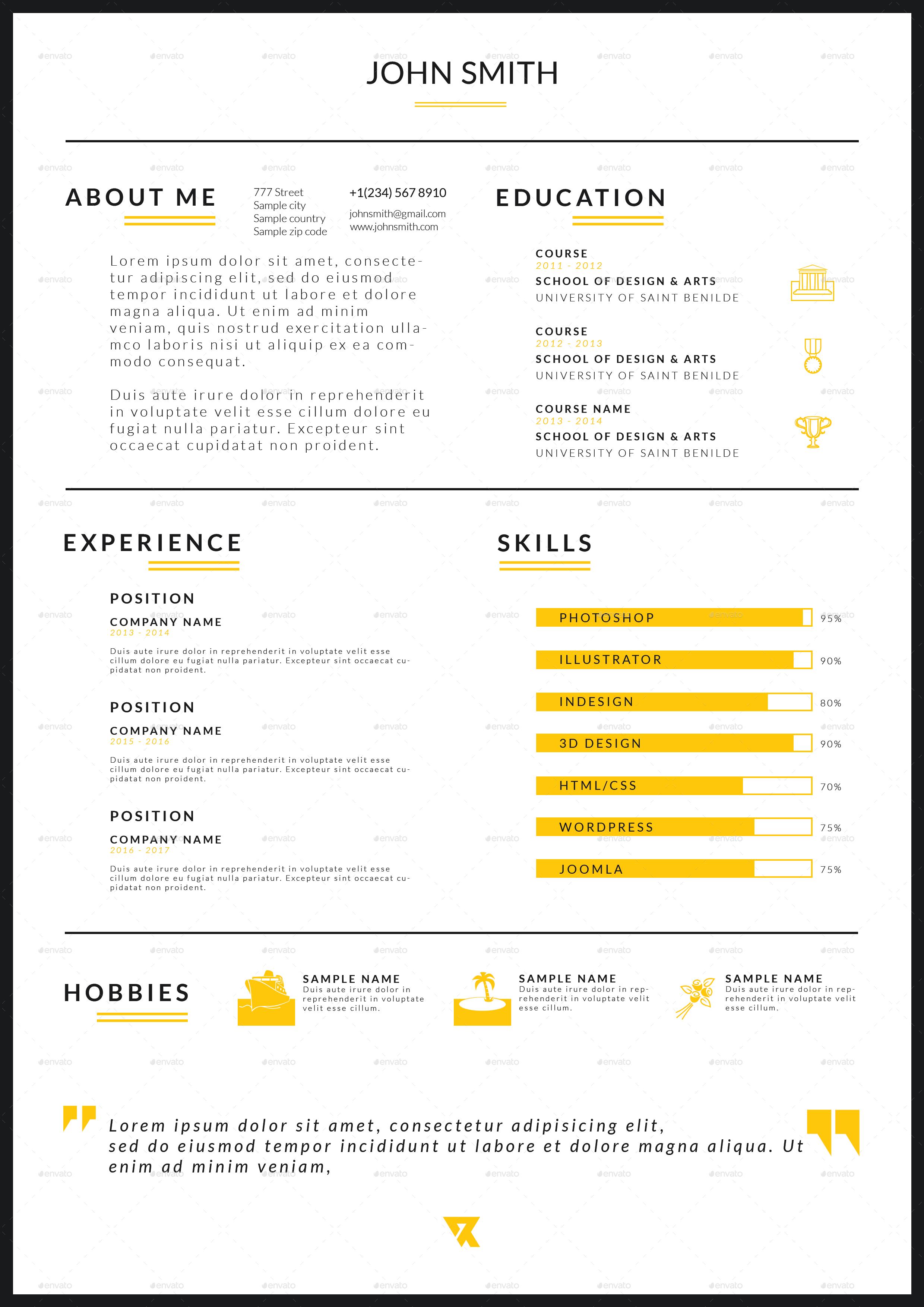 rv resume v 1 by reginevdesign graphicriver