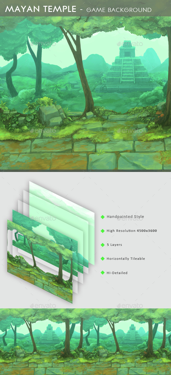 Mayan Temple - Game Background  - Backgrounds Game Assets