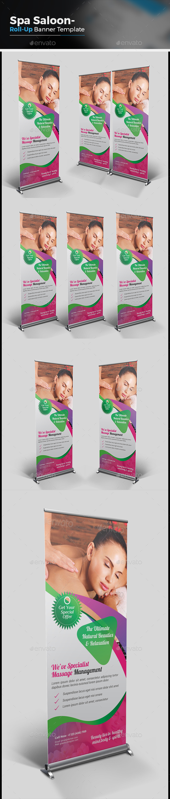 Spa Beauty Salon Roll Up Banner - Signage Print Templates