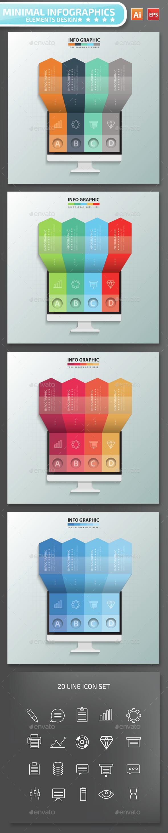 Minimal Monitor Infographics Design - Infographics