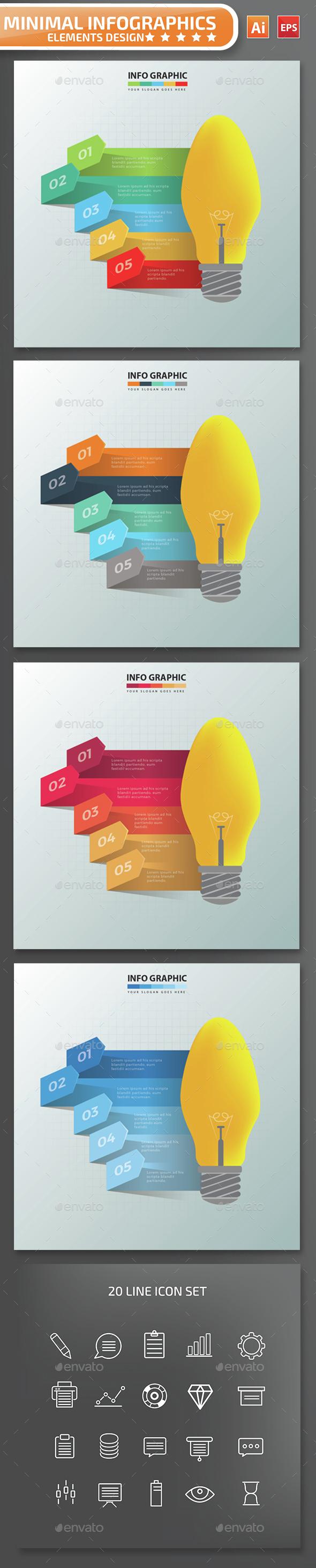 Minimal Lightbulb Infographics Design - Infographics