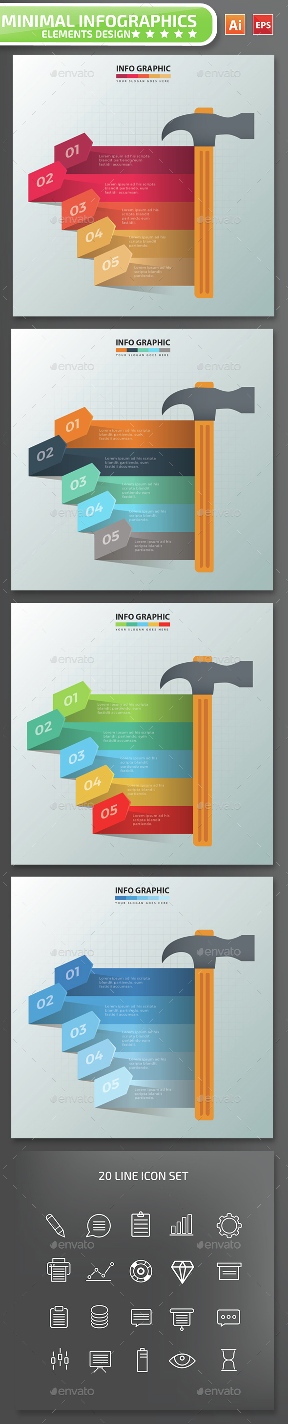 Minimal Hammer Infographics Design - Infographics
