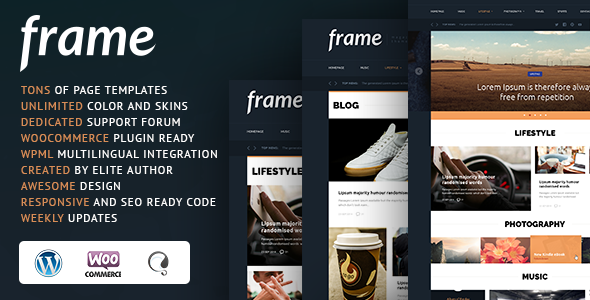 Frame Magazine Responsive WordPress Theme - News / Editorial Blog / Magazine