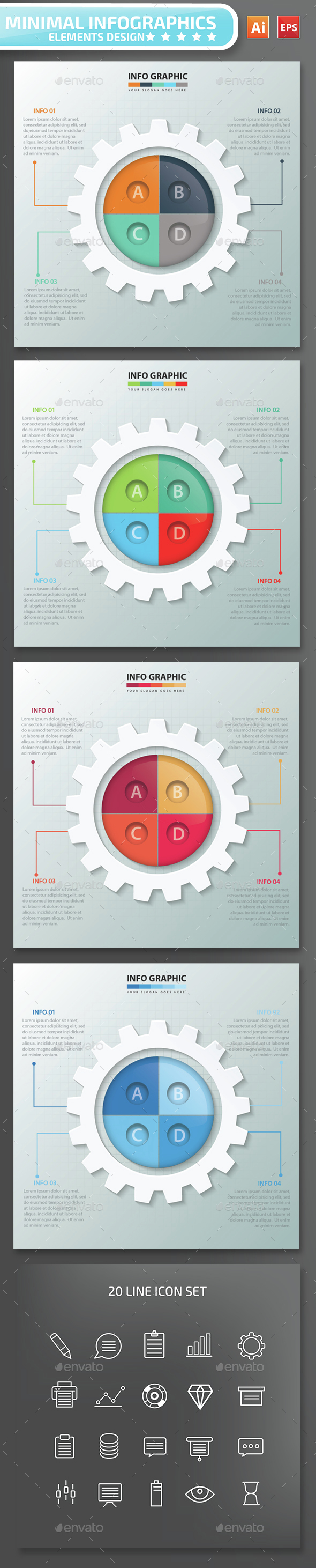 Minimal Gear Infographics Design - Infographics