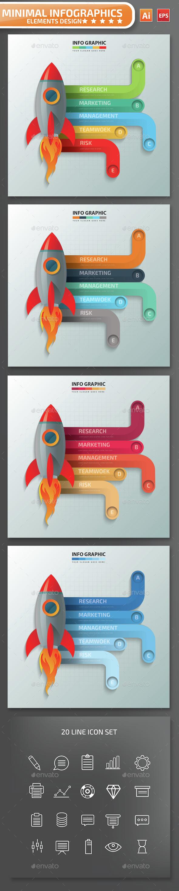 Minimal Rocket Infographics Design - Infographics