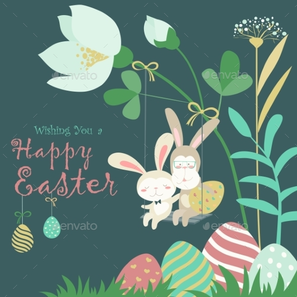 Easter Bunnies And Easter Egg - Seasons/Holidays Conceptual