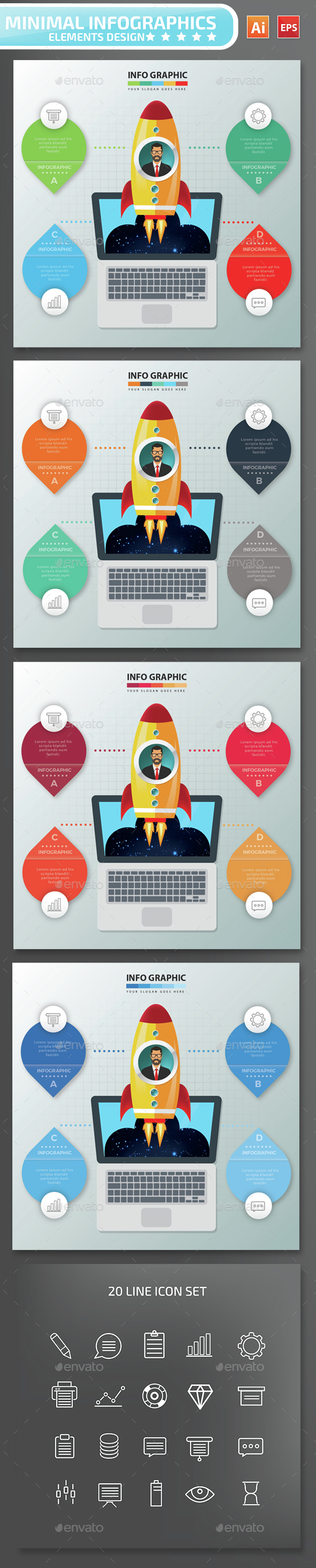 Minimal Start Up Infographics Design - Infographics