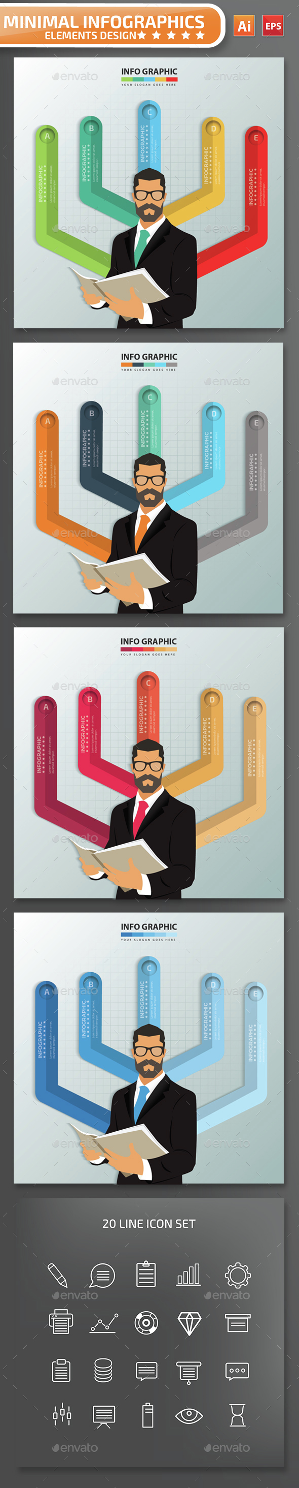 Minimal Businessman Infographics Design - Infographics
