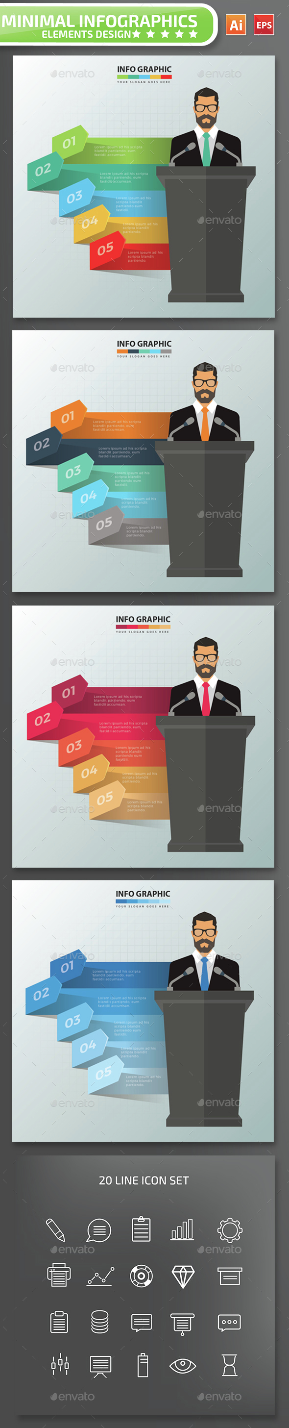 Minimal Businessman Infographics Design - Infographics