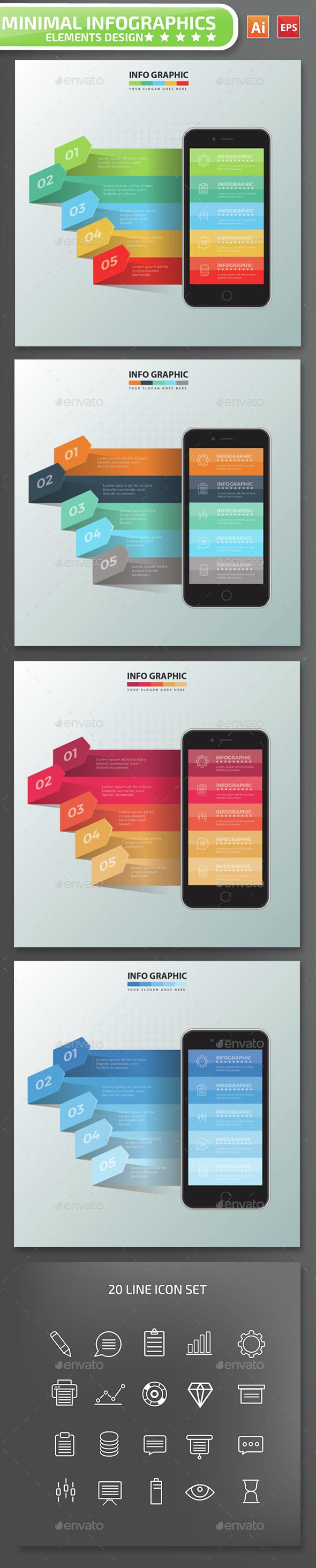 Minimal Mobile phone Infographics Design 2 - Infographics