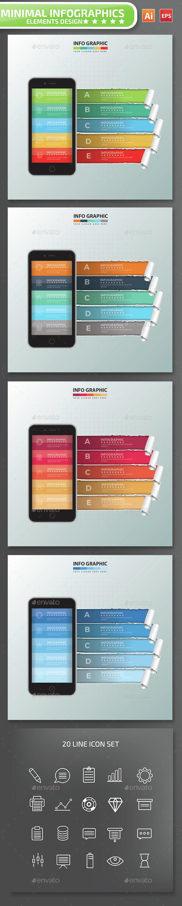 Minimal Mobile phone Infographics Design 3 - Infographics
